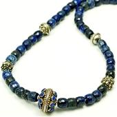 Lapis lazuli i srebro, naszyjnik orientalny