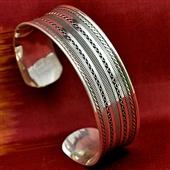 Duża srebrna bransoleta orientalna