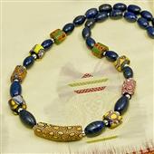 Naszyjnik: stare szkło Murano i lapis lazuli