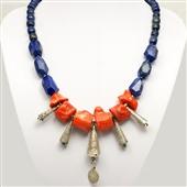 Duży naszyjnik z korala, lapis lazuli i srebra