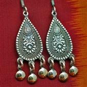Długie orientalne kolczyki ze srebra