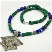Orientalny naszyjnik z malachitu i srebra