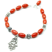 Hamsa: Bransoletka z czerwonego korala