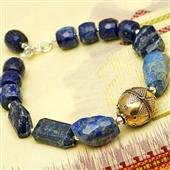 Bransoletka z lapis lazuli i srebra: Turkmenka