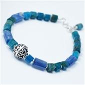 Bransoletka z niebieskich kamieni i srebra
