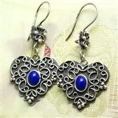 Kolczyki serca z lapis lazuli