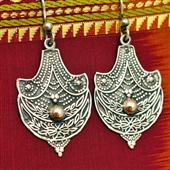 Srebrne wiszące kolczyki orientalne