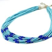 Afgański naszyjnik z koralików, niebieski