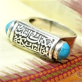 Arabski pierścionek z turkusami