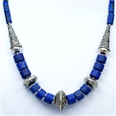 Duży etniczny naszyjnik z lapis lazuli i srebra