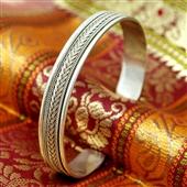 Otwarta srebrna bransoletka bangla