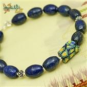 Męska bransoletka lapis lazuli i szkło weneckie