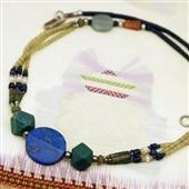 Naszyjnik afgański: jadeit i lapis lazuli