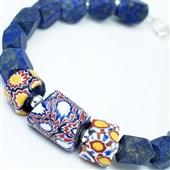 Bransoletka lapis lazuli ze szkłem Murano
