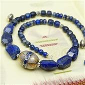 Etniczny naszyjnik z lapis lazuli i srebra