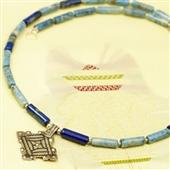 Naszyjnik męski z lapis lazuli i srebra Berber