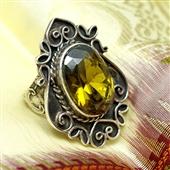 Srebrny pierścionek z dużym topazem