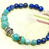 Bransoletka etno boho, Lapis lazuli i turkus