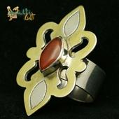 Srebrny duży pierścionek z karneolem. Tekke