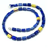 Męski naszyjnik lapis lazuli i szkło Murano