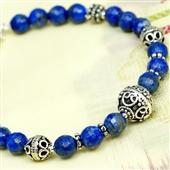 Etniczna bransoletka z lapis lazuli i srebra