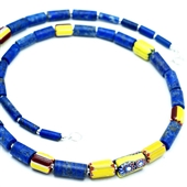Męski naszyjnik lapis lazuli i Murano