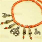 Naszyjnik z korala i srebra; Berber