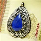 Srebrny duży wisior z lapis lazuli. Afganistan.