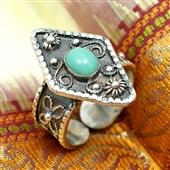 Etniczny pierścionek z turkusem