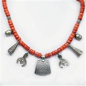 Naszyjnik z korala i srebra