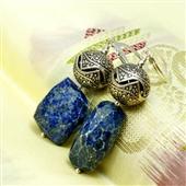 Duże kolczyki srebro i lapis lazuli