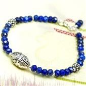 Delikatna bransoletka z lapis lazuli i srebra