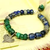 Malachit i lapis lazuli: Bransoletka z amuletem