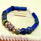 Murano i lapis lazuli. Bransoletka męska