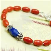 Czerwony koral i lapis lazuli. Bransoletka