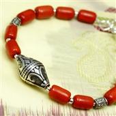 Bransoletka z czerwonego korala i srebra