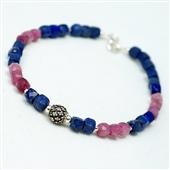 Różowy turmalin i lapis lazuli. Bransoletka
