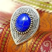 Pierścionek łezka z lapis lazuli