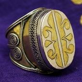 Srebrny, złocony sygnet z Turkmenistanu