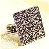 Duży orientalny pierścionek ze srebra