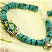 Szkło Murano: bransoletka z turkusu i srebra