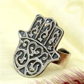 Amulet Hamsa: Srebrny pierścionek