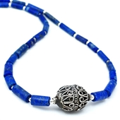 Naszyjnik etno z lapis lazuli i srebra