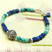 Etno bransoletka z turkusu i lapis lazuli
