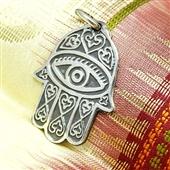 Srebrny wisiorek Ręka Fatimy i Oko