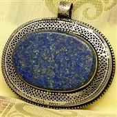 Orientalny srebrny wisior z lapis lazuli