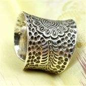 Etno boho: Srebrny pierścionek - obrączka