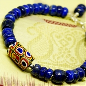 Bransoletka etno lapis lazuli i szkło Murano