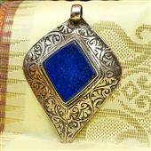 Srebrny wisior z lapis lazuli. Afganistan