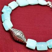 Amazonit: etniczna bransoletka z kamieni i srebra